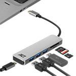 ACT USB C Hub Kartenleser AC7050 Schwarz, Grau 0.15 m