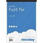 Niceday Nachfüllblock Blau, Weiss Kariert Ungelocht A4+ 21 x 31.5 cm 5 Stück à 80 Blatt