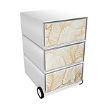 Paperflow Easybox Rollcontainer Gold Leaves mit 4 Schubladen 642 x 390 x 436 mm