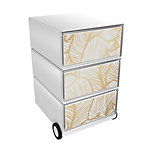 Paperflow Rollcontainer Gold Leaves EasyBox mit 3 Schubladen