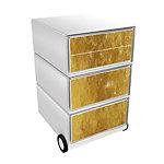 Paperflow Easybox Rollcontainer Gold mit 4 Schubladen 642 x 390 x 436 mm