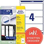 AVERY Zweckform Ordneretiketten L6061 25 Ultragrip Weiss 30 DIN A4 59 mm Blatt à 4 Etiketten