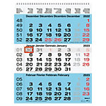 Biella Wandkalender 3 Monate pro Seite 2021 Blau