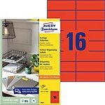 AVERY Zweckform  Multifunktionsetiketten A4 Rot 105 x 37 mm 100 Blatt à 16 Etiketten