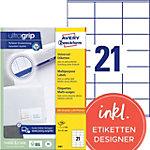 AVERY Zweckform Universaletiketten 3481 Ultragrip Weiss DIN A4 70 x 41 mm 100 Blatt à 21 Etiketten