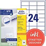 AVERY Zweckform Universaletiketten 3658 Ultragrip Weiss DIN A4 64,6 x 33,8 mm 100 Blatt à 24 Etiketten