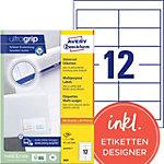 AVERY Zweckform Universaletiketten 3659 Ultragrip Weiss DIN A4 97 x 42,3 mm 100 Blatt à 12 Etiketten