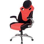 Realspace Basic Tilt Gaming Stuhl mit 2D Armlehnen und verstellbarem Sitz HLC 1455 Leder Schwarz, Rot