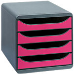 Exacompta Schubladenbox BIG BOX CLASSIC Polystyrol Mausgrau, Himbeer 27.8 x 34.7 x 26.7 cm