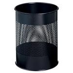 DURABLE Papierkorb Schwarz Metall perforiert (16,5 cm breit) 28 x 34 x 31,5 cm