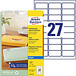 AVERY Zweckform QuickPEEL™ Adressetiketten 63,5 x 29,6 mm Transparent 63.5 x 29.6 mm 27 Blatt à 25 Etiketten