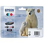Epson 26XL Original Tintenpatrone C13T26364010 Schwarz & 3 Farbig 4 Stück