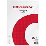 Office Depot Notizblock Kariert DIN A4 Kariert Weiß, Rot 10 Stück à 50 Blatt