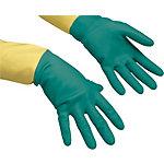 Vileda Handschuhe Der Robuste Naturlatex, Baumwolle, Neopren Größe L Grün, Gelb 2 Stück