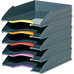 DURABLE Ablagefächer VARICOLOR TRAY SET Polystyrol Farbig sortiert 25,5 x 33 x 5,5 cm 5 Stück