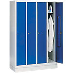 C+P Garderobenschrank 8020 Lichtgrau, Enzianblau 119 x 50 x 180 cm