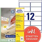 AVERY Zweckform Universale abnehmbare Etiketten L4743REV 100 Weiss A4 99.1 x 42.3 mm 100 Blatt à 12 Etiketten