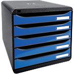 Exacompta Schubladenbox Big Box A4 350 Blatt Schwarz, Eisblau 27.8 x 34.7 x 27.1 cm