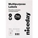 Niceday mit geraden Ecken Universaletiketten Weiss 96.5 x 42.3 mm 1200 Etiketten