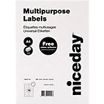 Niceday Mehrzwecketiketten selbstklebend 105 x 37 mm Weiss 100 Blatt mit 16 Etiketten
