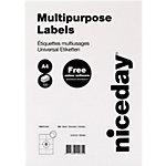 Niceday mit geraden Ecken Universaletiketten 105 x 74 mm Weiss 105 x 74 mm 100 Blatt à 8 Etiketten