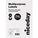 Niceday 61330 Mehrzwecketiketten selbstklebend 64,6 x 33,8 mm Weiss 2400 Etiketten 100 Blatt mit 24 Etiketten