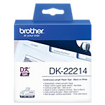Brother DK 22214 Authentic Papier Endlosetiketten Selbstklebend Schwarzer Druck auf Weiss 12 mm x 30.5m