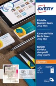 Cartes De Visite AVERY Zweckform C32011 25 Blanc Mat 200 G M2 85 X 55 Mm 54 Feuilles 10 Etiquette Viking