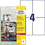 Étiquettes Avery Résistant à l'eau Blanc 148 x 105 mm 20 Feuilles de 4 Étiquettes