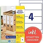 Étiquettes AVERY Zweckform LR4761 25 A4 Blanc 192 x 61 mm 30 Feuilles de 4 Étiquettes
