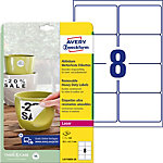 Étiquettes AVERY Zweckform Résistant à l'eau L4715REV 20 Blanc A4 67 x 99,1 mm 20 Feuilles de 8 Étiquettes