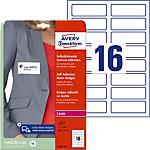 Badges adhésifs en textile Avery L4783 20 Blanc, Rectangulaires 88,9 x 31 mm 120 g