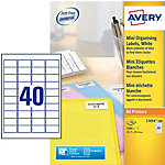 Étiquettes Avery 45,7 x 25,4 mm Blanc 45.7 x 25.4 mm 100 Feuilles de 40 Étiquettes