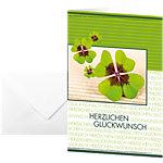 Carte de vœux «bonne chance» avec motif trèfle Sigel DS004 220 g