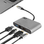 Multiport USB C ACT AC7040 1 x USB C mâle vers 1 x USB C femelle, 1 x USB A, 1 x port Ethernet 0,15 m Noir Gris