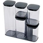 Pots de rangement Joseph Joseph Podium Plastique Transparent, Gris 5 Unités