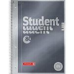 Cahier à spirales BRUNNEN Student Premium A4 Gris Couverture en carton Quadrillé 80 feuilles