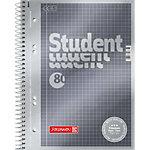 Cahier à spirales BRUNNEN Student Premium A5 Gris Couverture en carton Quadrillé 80 feuilles