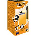 Stylo bille BIC M10 Noir Rétractable 50 Unités