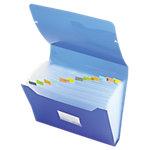 Trieur extensible Office Depot 13 compartiments A4 Bleu transparent Polypropylène