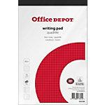 Bloc notes Office Depot Blanc A5+ Reliure supérieure Couverture en papier Quadrillé 100 feuilles Paquet de 5