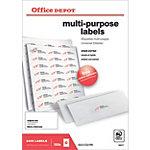 Étiquettes multifonctions Office Depot Coins droits  Blanc 64,6 x 33,8 mm 100 Feuilles