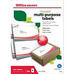Étiquettes multi usages Office Depot Autocollantes 210 x 148 mm Blanc 200 Étiquettes 100 Feuilles de 2 Étiquettes