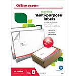 Étiquettes multi usages recyclées Office Depot Coins droits A4 Blanc 210 x 297 mm 100 Feuilles de 1 Étiquettes