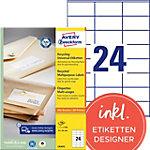 Étiquettes recyclées AVERY Zweckform LR3475 70 x 36 mm Blanc 70 x 36 mm 100 Feuilles de 24 Étiquettes