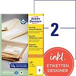 Étiquettes universelles AVERY Zweckform LR3655 Blanc A4 210 x 148 mm 100 Feuilles de 2 Étiquettes