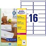 Étiquettes d'adresse recyclées Avery LR7162 100 Blanc A4 99,1 x 33,9 mm 100 Feuilles de 16 Étiquettes