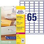 Étiquettes d'adresse Avery L7551 25 Autocollantes 38,1 x 21,2mm Transparentes 25 Feuilles de 65 Étiquettes
