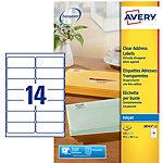 Étiquettes d'adresse Avery J8563 25 Autocollantes 99,1 x 38,1mm Transparentes 25 Feuilles de 14 Étiquettes