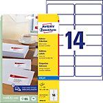Étiquettes d'adresse Avery J8163 25 Autocollantes 99,1 x 38,1mm Blanc 25 Feuilles de 14 Étiquettes